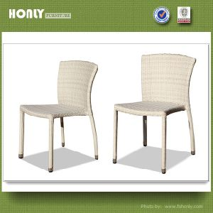 Outdoor Synthetic Wicker Armless Chair Stackable Aluminum Rattan Patio Chair