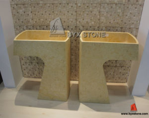 Modern Sunny Beige Marble Pedestal Basin Sink for Bathroom pictures & photos