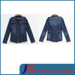 Metal Zipper Collar Women Jean Demin Jacket (JC4063) pictures & photos