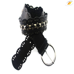 Newest Women′s Rivet PU Belt with Rhinestone Lace Belt pictures & photos
