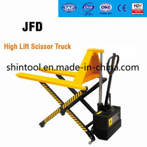 1000kg Electric High Lift Scissor Truck with Double Piston pictures & photos