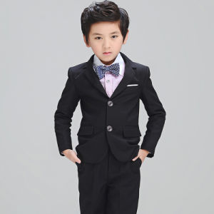 Boys Black Black Two Buttons Satin Collar Boys Suits pictures & photos