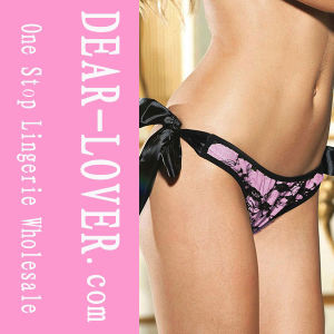 Pink Thong Lace Overlay with Satin Ties Panty pictures & photos