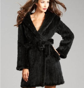 2015 New Fashion Lady Genuine Knitted Mink Fur Coats