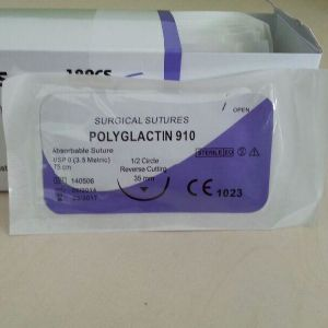 Surgical Synthetic Absorbable Braided PGA Surgical Suture with Needle USP4/0 pictures & photos