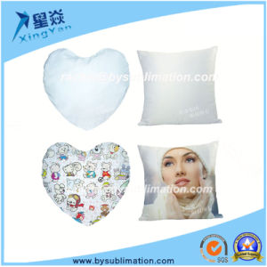 Heart Shaped White Sublimation Suede Cushion Cover pictures & photos