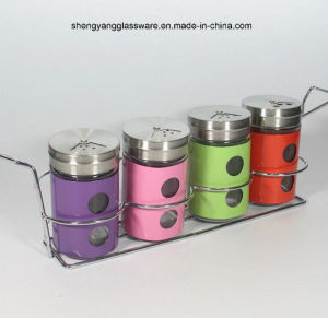 4 PC Stainless Steel Wrap Glass Spice Bottle with Lid and Shelf pictures & photos