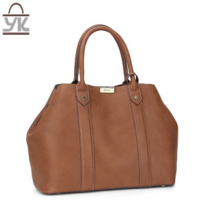 Brown PU Leather Ladies Tote Designer Handbag pictures & photos