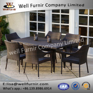 Well Furnir T-085 Environment-Friendly 7 Piece Rectangle Rattan Wicker Dining Sets pictures & photos
