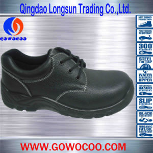 Hot Sale Black Embossed Leather Safety Footwear (GWPU-1008)