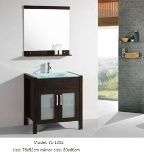 Wooden Vanity Bathroom Cabinet with Glass Basin Mirror pictures & photos