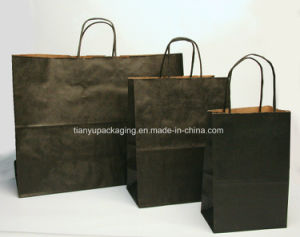 Paper Laminated Promotional Shopping Bag Black Kraft Paper Bag pictures & photos