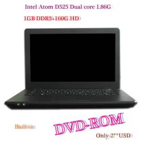 14.1′′ Win7 1366*768 Notebook Computer,D2500 Dual Core 1.86GHz+2g DDR3+250g HD,Camera,Bt,Slot-Loading DVD-ROM