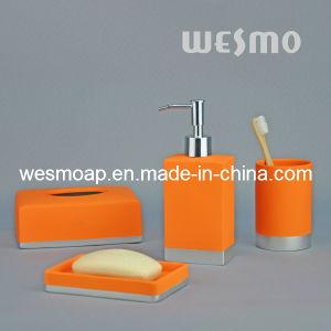 China orange rubber oil coated bathroom set china for Orange bathroom accessories set