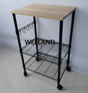 Black 3 Tier Metal Kitchen Cart Trolley with MDF Top pictures & photos