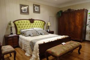 Classic Style Fabric Bed in Beech Solid Wood Frame