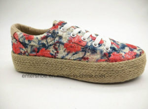 Autumn New Lady Fashion Jute Shoes with Pretty Floral Fabric (ET-FEK160126W)
