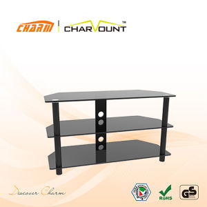 Classial 2 Tiers Tempered Glass Stand Flat Screen TV Stands (CT-FTVS-K103BM) pictures & photos