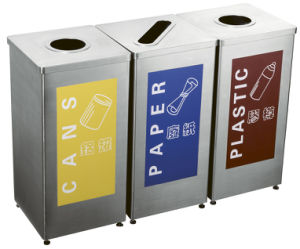 Supermarket Classifed Trash Bin with Stainless Steel Material (HW-154) pictures & photos