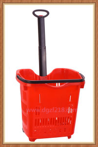 50L Colored Trolley Plastic Supermarket Basket for Shopping