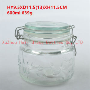 600ml Engraving Glass Food Jar Storage Glass Jar with Glass Seal Lid pictures & photos