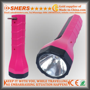 Rechargeable 1W LED Torch with Built-in Adapter for Searching (SH-1938)