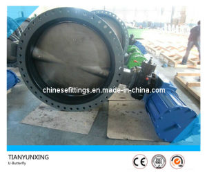 EPDM Liner U Type Section Double Flange Butterfly Valve pictures & photos