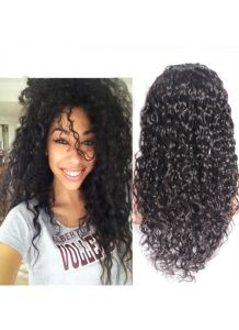 Natural Hairline Black Loose Curly Virgin Human Hair Full Lace Wigs with Baby Hair pictures & photos