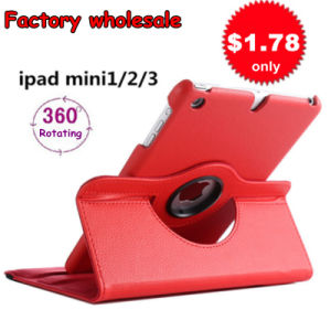 Low Price Rotatable Leather iPad Case for Mini 1/2/3