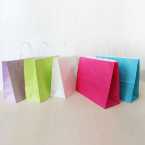 Large Printing White Kraft Paper Shopping Bag with Twisted Handle pictures & photos