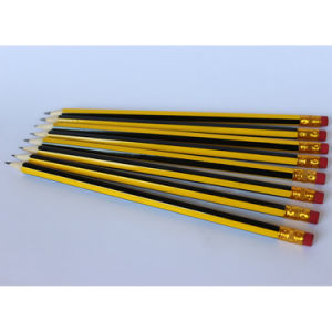 Yellow/Black Stripe Coating, Wooden Pencils Hb with Eraser Tips pictures & photos