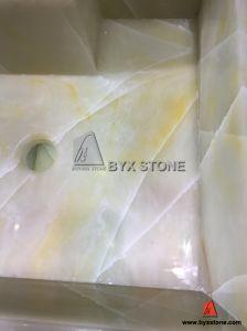 Beige Onyx Pedestal Sink Vessel Basin for Bathroom Furniture pictures & photos