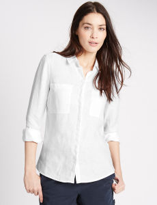 Fashion Women Pure Linen Long Sleeve Shirt pictures & photos