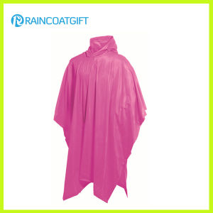 Adult Hooded PVC Pink Rain Ponchos (Rvc-095) pictures & photos