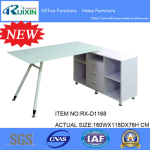 New Design White Frosted Glass Desktop & Steel Frame Office Furniture Table pictures & photos