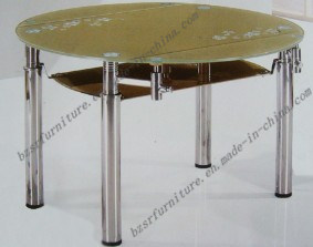 Tempered Glass Chromed Leg Dining Table (ST-5201)