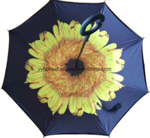C Hook Handle Windproof Reverse Folding Double Layer Umbrella pictures & photos