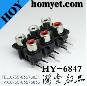 RCA Connector with Three White Holes and Three Red Holes (HY-6847N) pictures & photos