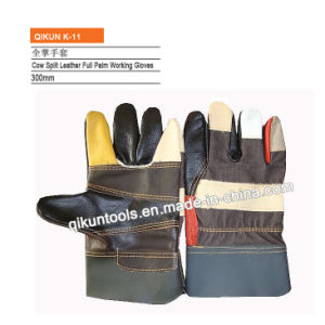 K-08 Full Cow Leather Full Palm Leather Gloves pictures & photos