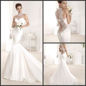 China sexy high neck open back with butterfly chapel train for Butterfly back wedding dress