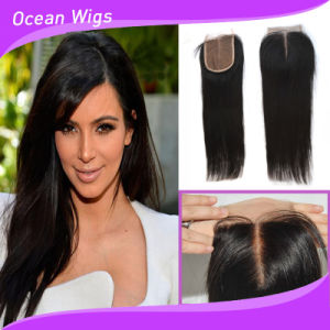 100% Human Brazilian Indian Virgin Remy Silk Top Straight Hair Lace Closure pictures & photos