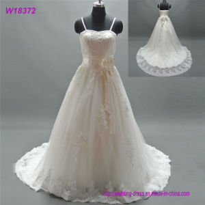 Cheapest Simple New Style Tulle Long Pattern Ivory Wedding Dress pictures & photos