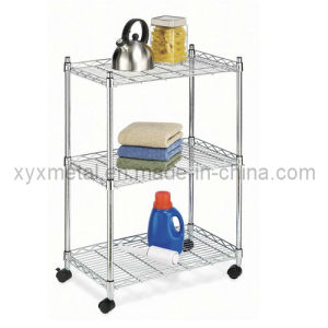 3 Tiers Metal Wire Stand Rolling Shelf Shelving Display Rack pictures & photos