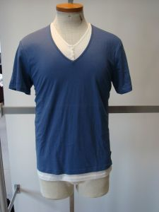 Men′s Double V Neck Fashion T-Shirt (941)