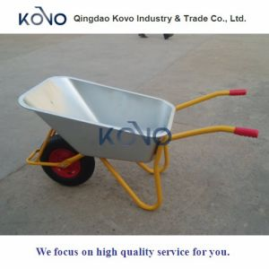 White Yellow Wheel Barrow with Air Tyre for Ghana pictures & photos