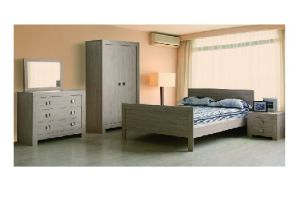 China Country Style Gray Wood Bedroom Sets bed dresser