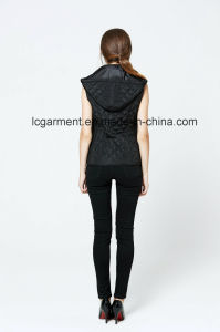 Hooded Winter Zipper Women Leather Vest Popular Design Women Waistcoat with Pockets pictures & photos
