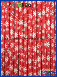 Eco Friendly, Red Color with Snow Fall Paper Straw pictures & photos