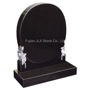 Modern Wholesale Black Granite Heart Headstone with Roses pictures & photos