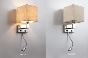 Very Practical Modern Hotel Bedside LED Reading Wall Lamp Light with Fabric Shade pictures & photos